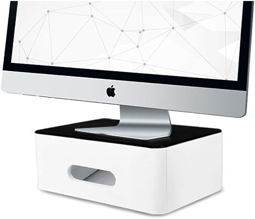 Multifunción Plástico Soporte para Monitor Organizador de Escritorio con cajón, Ordenador Elevador de Monitor, Ahorra Espacio Monitor de pc Premium y Soporte del Ordenador portátil-Blanco: Amazon.es: Hogar