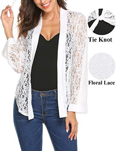 (Women's Open Front Long Sleeve White Lace Cover Up Bolero Jacket Lace Shrug Cardigan for Summer Autumn Dresses(White,M))
