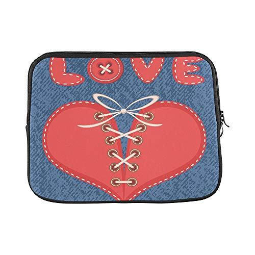 Design Custom Love and Laced Heart with Jeans Background Sleeve Soft Laptop Case Bag Pouch Skin for MacBook Air 11
