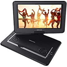 """DBPOWER 14"""" Portable DVD Player with Rechargeable Battery, Swivel Screen, Supports SD Card and USB, with 1.8M Car Charger and 1.8M Power Adaptor (Black)"""