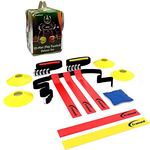 (Trained Flag Football Set,10 Man Set,Premium Football Gear, Massive 46 Piece Set, Flags, Belts, Cones, More, Bonus: Stylish Carry Bag & Flag Football Playbook)