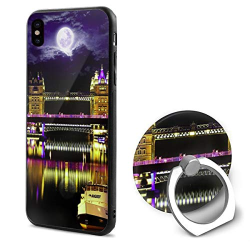 LeYue iPhone Xs/X Case, London Bridge Night Slim Fit Liquid Silicone Gel Rubber Shockproof Case Soft Cover +Finger Ring Holder Stand Grip Mount Kickstand for iPhone X/XS 5.8 Inch ()