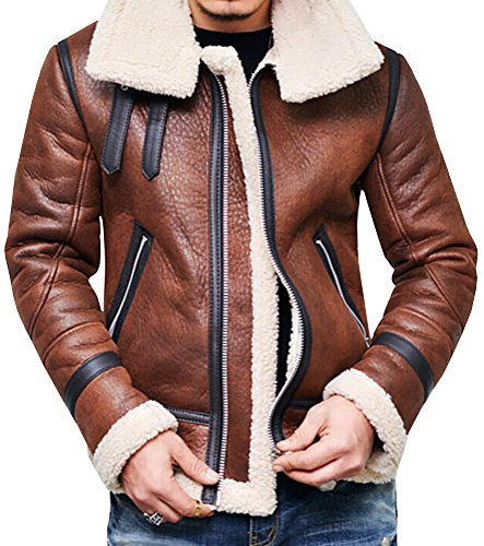 Karlywindow Men's Winter Fashion Vintage Faux Leather Bomber Coat Fur Lined Jacket