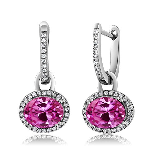 Leverback Pink Sapphire Earrings (Sterling Silver Stunning Oval Gemstone Birthstone Dangling Earrings)