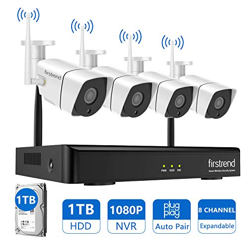 [2019 Newest]Security Camera System Wireless,Firstrend 8CH 1080P Wireless NVR Kit and Easy Remote Home Monitoring Systems with 4pcs 1MP Video Home Security Cameras 65ft Night Vision and 1TB Hard Drive ()