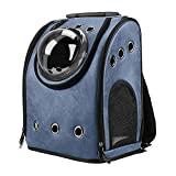 Texsens Innovative Traveler Bubble Backpack Pet Carriers Airline Travel Approved Carrier Switchable Mesh Panel for Cats and Dogs (One Size, Dark Blue) For Sale