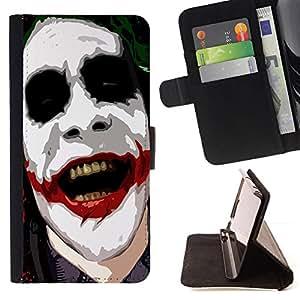 GIFT CHOICE / Billetera de cuero Estuche protector Cáscara Funda Caja de la carpeta Cubierta Caso / Wallet Case for Apple Iphone 6 // Cool Serious Clown Smile //