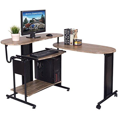 Expandable Computer Desk L Shaped PC Laptop Table Corner Workstation Home Office