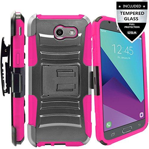 Galaxy J3 Prime Case,Galaxy J3 Eclipse / J3 Mission / J3 Emerge/Amp Prime 2 / Express Prime 2 / Sol 2 / J3 Luna Pro / J3 2017 Case,IDEA LINE Combo Holster Kickstand Belt Clip+Tempered Glass - Pink