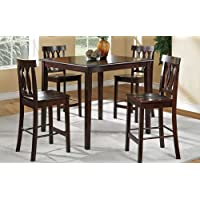 5pc Counter Height Dining Set Tangled Circle Chair Back in Dark Cherry