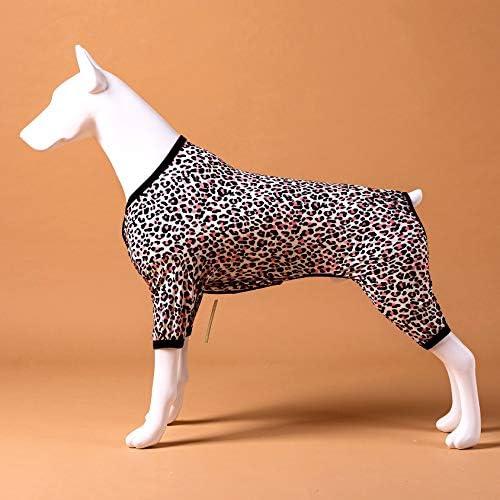 LovinPet - Ropa para perros grandes después de la cirugía / Estampados en rosa neón de guepardo de punto elástico cepillado doble / Protección UV, alivio de la ansiedad de las mascotas, pijama ligero para mascotas / Pijamas para perros de cobertura completa 3