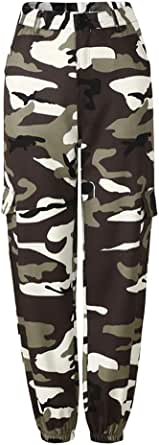 Fulision Women's Camo Pant Cargo Pants Loose Military Army Polyester Mid Waist Jogging Dance Fashion Ladies Tracksuit Harem Trousers
