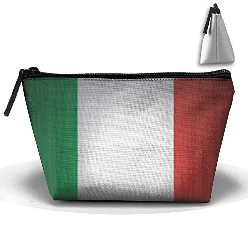 (UEYYP Italian Flag Women's Cute Zippered Makeup Bag Large Trapezoidal Cosmetic Travel Bag Portable Pouch Multifunction Toiletries Organizer Bag)