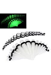 36 Pieces Gauges Kit Clear Super Glow In The Dark Radiant Acrylic Tapers with Plugs 14G - 00G Stretching Kit - 18 Pairs