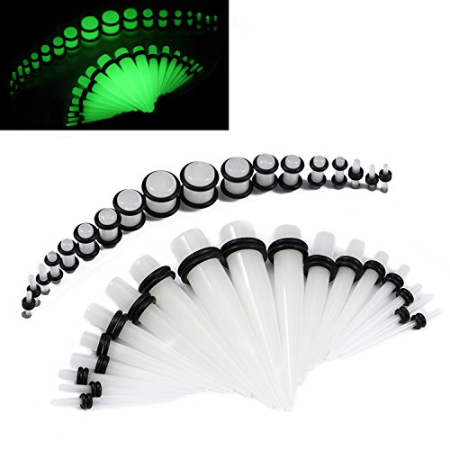 36 Pieces Gauges Kit Clear Super Glow In The Dark Radiant Acrylic Tapers with