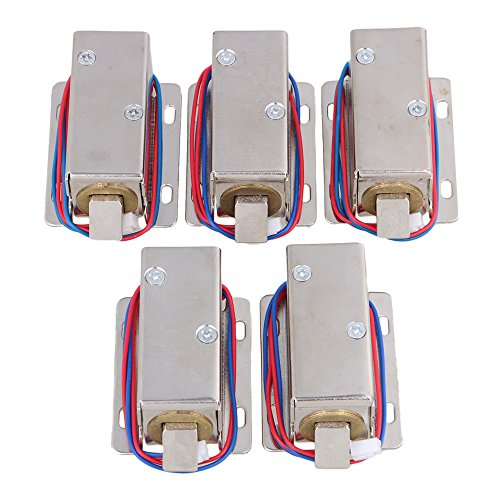 BQLZR Silver Lock Tongue Upward Luggage Solenoid Electric Lock Assembly 12V TFS-A21 Pack of 5 by BQLZR