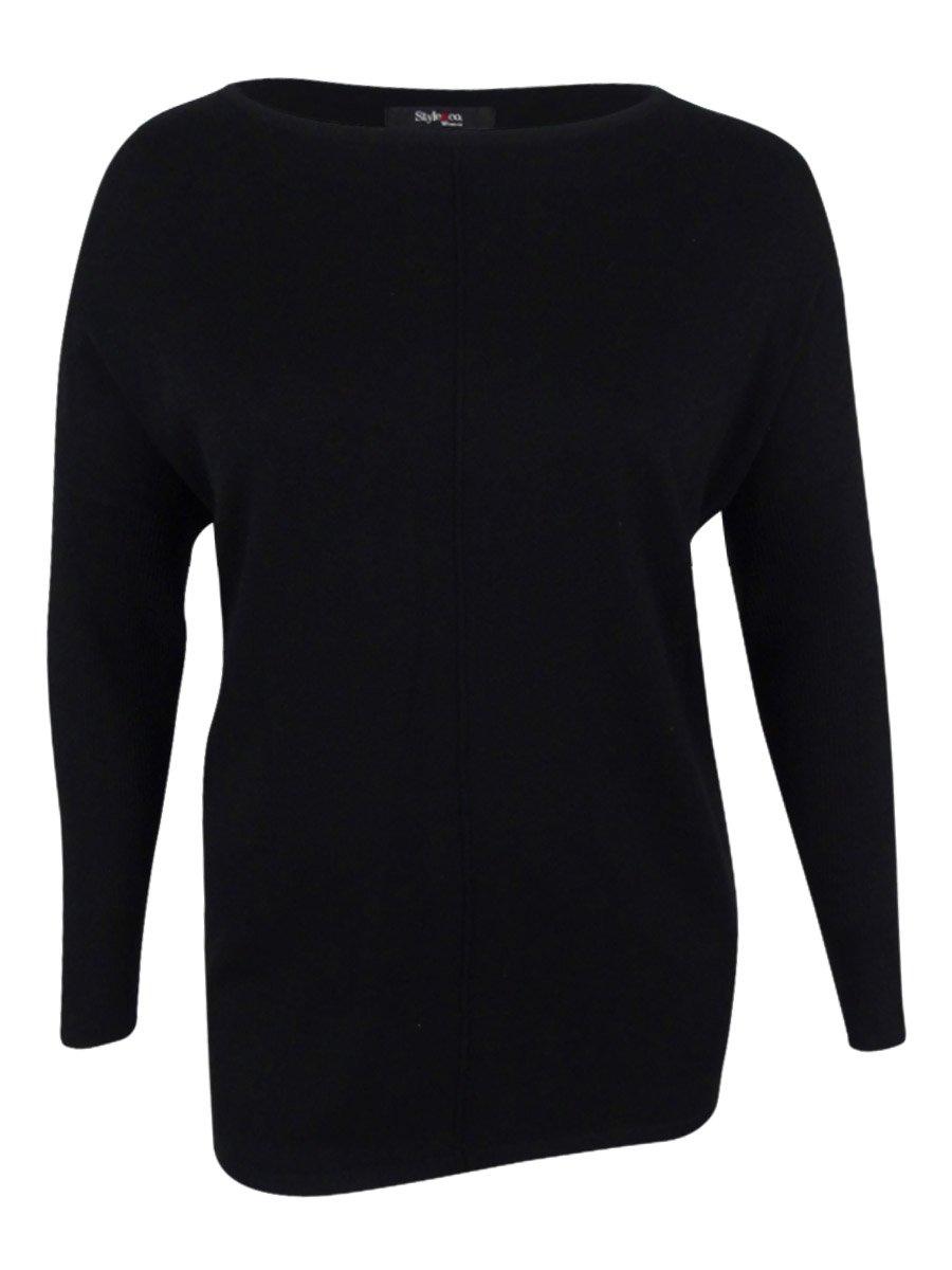 Style & Co. Womens Plus Boatneck Hi-Low Sweater Black 3X