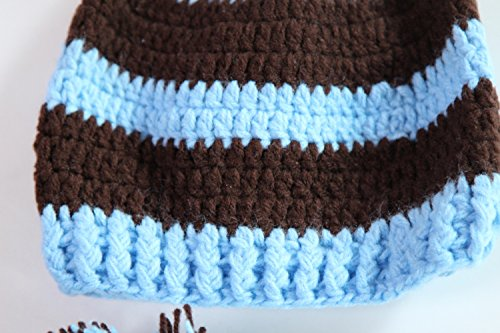 b9b8db2d8bd Amazon.com  Kafeimali Baby Christmas Elf Long Tail Crochet Beanie Knit Hat  Stocking Caps (Blue)  Clothing