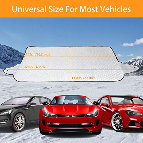 GLANDU Windshield Snow Cover for Ice and Snow for Car with 4 Layer Protection and 4 Magnets Inside Waterproof,Snow,Ice,Frost Defense,Windproof Windshield Sun Shade, Extra Large Fits Most Car SUV