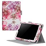 Fire 7 2015 Case, rooCASE Dual View Amazon Fire 7 2015 (Support Landscape/Portrait) PU Leather Folio Case Cover with Stand for Amazon Fire 7 Tablet 2015, Floral Design