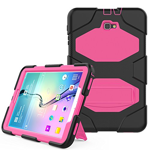 10.1 (No S Pen Version SM-T580 / T585 / T587) Case, Hansin Heavy Duty Shockproof Rugged Hybrid Impact Resistant Armor Defender Protective Silicone Kickstand Cover, Black/Rose ()