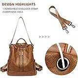 Women Leather Backpack Casual Medium Lightweight