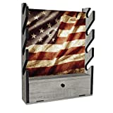 Search : Rush Creek Creations Indoor 4 Rifle/Shotgun Wall Storage Americana Display Rack - Features Storage Compartment for Accessories