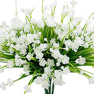 MARJON Flowers4 pcs Artificial Flowers Fake Outdoor Faux Plants Greenery Daffodils White Shrubs Plastic Bushes Indoor 1