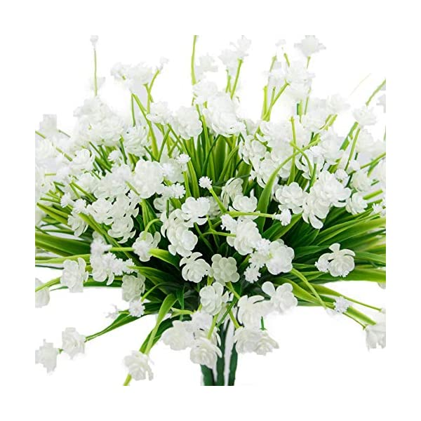 MARJON Flowers4 pcs Artificial Flowers Fake Outdoor Faux Plants Greenery Daffodils White Shrubs Plastic Bushes Indoor