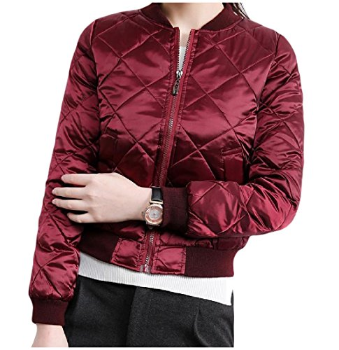 Tootless-Women Match Solid Embroidered Baseball Anorak Jacket Wine Red (Embroidered Anorak Jacket)