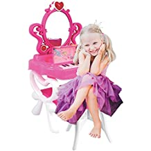 Dimple 2-in-1 Vanity Set Girls Toy Makeup Accessories with Working Piano & Flashing Lights, Big Mirror, Cosmetics, Working Hair Dryer - Glowing Princess will Appear when Pressing the Mirror-Button