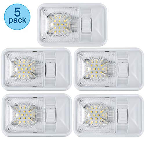 Kohree 12V Led RV Ceiling Dome Light RV Interior Lighting for Trailer Camper with Switch, Single Dome 300LM Each (Pack of 5)