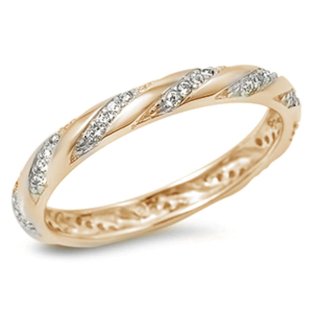 Yellow Gold Plated Cubic Zirconia Eternity .925 Sterling Silver Ring Sizes 7