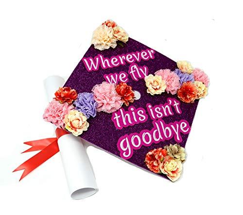 GradWYSE Handmade Graduation Cap Topper Graduation Gifts Cap Decorations, Wherever We Fly This Isn't Goodbye