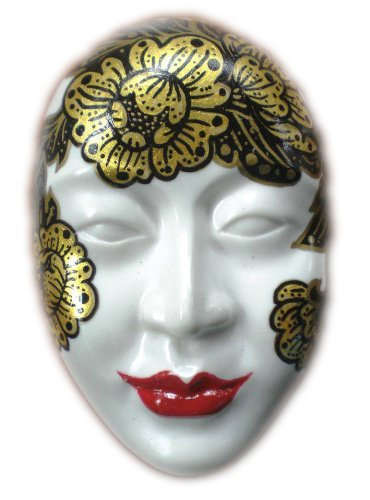 Mini Porcelain Ceramic Wall Hanging Mask in Thai Style No.mn08 Porcelain Wall Mask