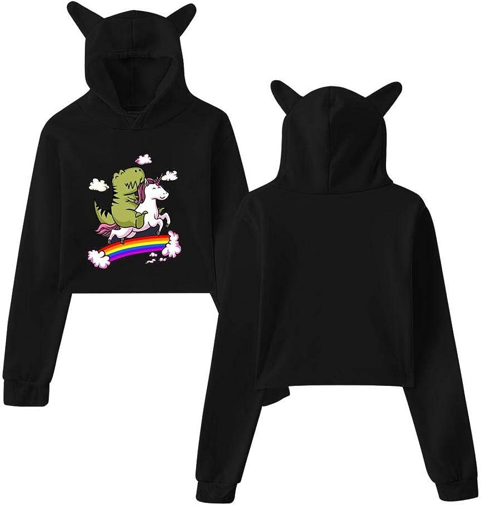 Unicorn Riding T-Rex Fashion Women Cat Ear Printed Long Sleeve Crop Top Sweatshirt Hooded Pullover