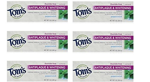 Tom's of Maine Natural Antiplaque Tartar Control & Whitening Toothpaste Peppermint 1 oz Travel Size (Pack of 6) ()