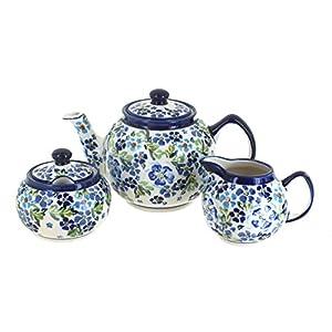 Blue Rose Polish Pottery Vintage Violet 3 Piece Tea Set