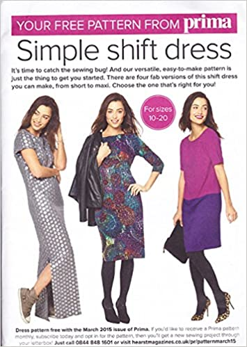 Prima Sewing Pattern, March 2015, Ladys Simple Shift Dress, Sizes 10 ...
