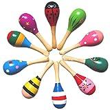 Bechampion Wooden Maraca Wood Rattles Egg Shaker Kids Musical Party Favor Kid Baby Shaker Sand Hammer Toy (Pack of 10)