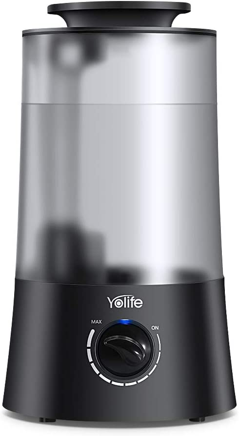 Yolife Top Fill Humidifiers Ultrasonic Cool Mist Humidifier for Bedroom Home Baby with Stepless Adjustable Mist Levels Whisper Quiet Auto Shut Off 4L Large Open Water Tank Classic knob Control
