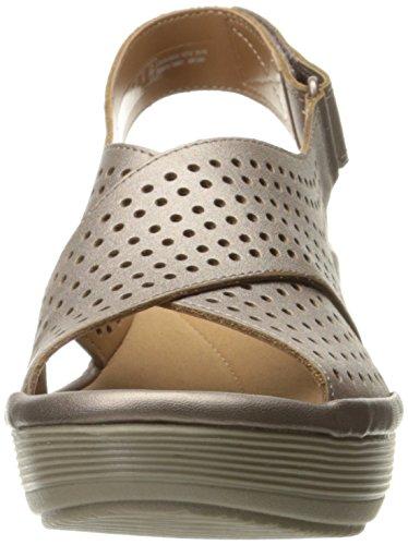 Clarks Womens Reedly Variel Wedge Sandal, Metallic Leather, 11 M US
