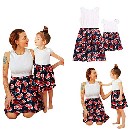 Fheaven Mummy and Daughter Dress Sleeveless Floral Print Family Matching Dresses Outfit Clothes (L, Dark -