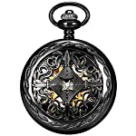 Steampunk Vintage Roman Letters Design Case Mechanical Pocket Watch with Chains for Xmas Gifts 6