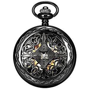 Steampunk Blue Hands Roman Letters Skeleton Mechanical Pocket Watch with Chain for Men Women (Black)