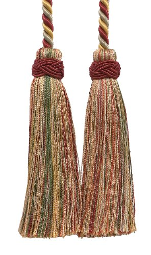 "DÉCOPRO Double Tassel/Wine, Gold, Green/Tassel Tie with 4 inch Tassels, 26"" Spread (Cord Length), Imperial II Collection Style# ICT Color: Cherry Grove - 4770"