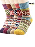 Zando Vintage Cabin Sock Women Teens Fashion Casual Soft Wool Socks Knit Thick Warm Crew Print Cotton Socks
