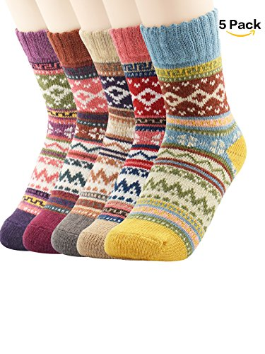 Zando Women Fashion Printed Thick Wool Knit Winter Casual Soft Warm Crew Socks Vintage Style 3-5 Pairs F 5 Pack-Diamond(1) (Cheap Best Friend Cheer Bows)
