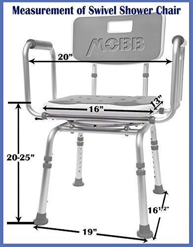 Mobb Premium Bathroom Swivel Shower Chair Bath Bench With