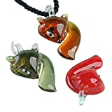 JOVIVI Cute Smart Lampwork Glass Fox Bead Dangle Pendant Charm Necklace For Jewelry Making DIY